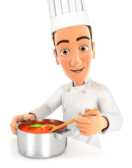 3d head chef cooking soup