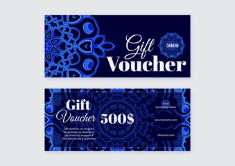 Gift voucher design templates with blue pattern. Vector illustra