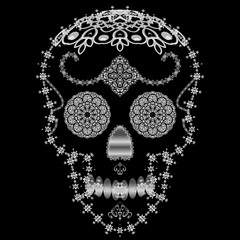 Silver ornamental sugar skull.