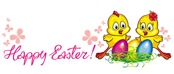 "Holiday banner with cartoon chickens, Easter eggs and ""Happy Easter"" greeting text. Vector clip art."