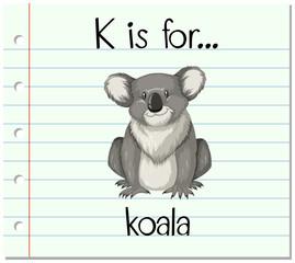 Flashcard letter K is for koala