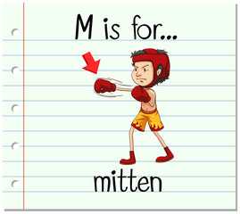 Flashcard letter M is for mitten
