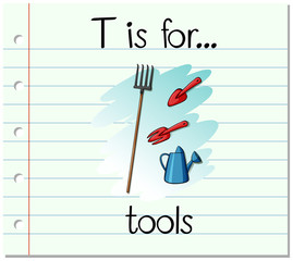 Flashcard letter T is for tools