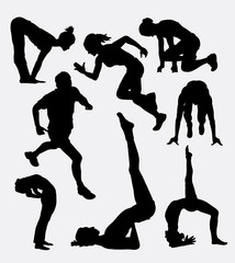 Workout male and female sport activity, Good use for symbol, logo, web icon, mascot, sign, sticker, or any design you want. Easy to use.