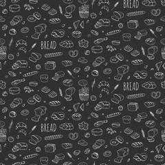 Seamless background hand drawn doodle set of cartoon food Rye bead Ciabatta Whole grain bread Bagel Sliced bead French baguette Croissant Vector illustration Sketchy bread elements collection