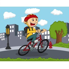 Little boy riding a bicycle with city background cartoon