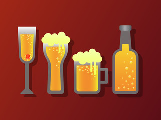 alcohol glass and bottle icon