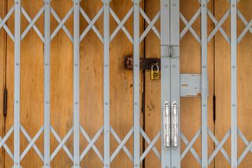 Old warehouse's steel shutter door