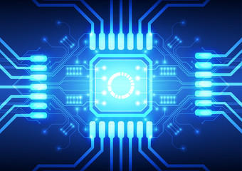 Technology processor on circuit board vector background