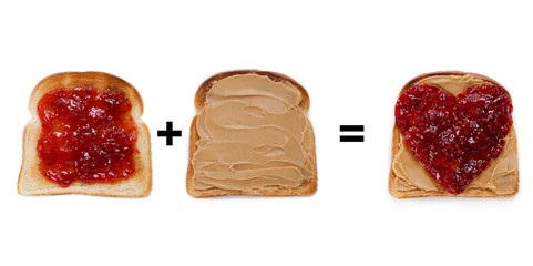 bread toast with jam and peanut butter spread.