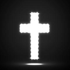 Glowing cross. Christian Symbol