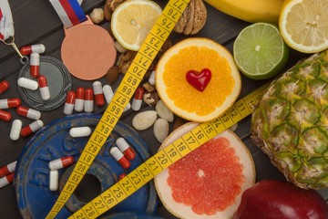 Sports training and a healthy diet. Healthy nutrition for athletes. Sporting achievements. Supplements for athletes.