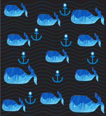 contrasting beautiful nautical pattern with whales waves and anchors on a dark grey background
