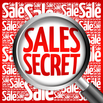 Sales Secret sale word cloud with magnifying glass, business concept