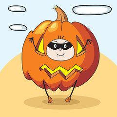 child pumpkin fright vector