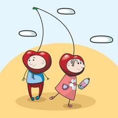 children cherries sparking water vector