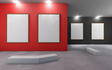 Art Gallery Museum with blank placard Red and Black wall