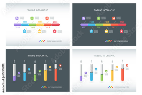 Set of timeline infographic design templates  Isometric
