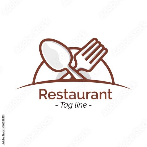 Quot restaurant cafe logo icon flat design inspiration vector