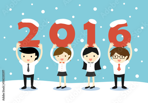 businessmen and business women holding 2016 letters with snow scene new year vector