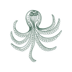 sketchy octopus in cartoon style on a white background
