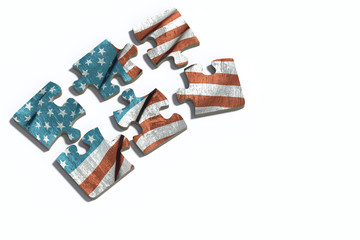 Americal flag on puzzle set