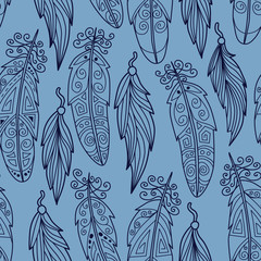 Stylish seamless texture with doodled Baikal feather in blue col