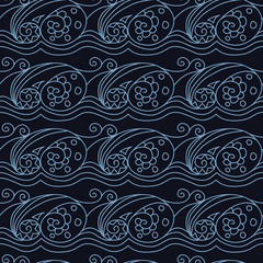 Stylish seamless texture with doodled Baikal storm wave  in blue