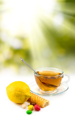 image of tea and lemon closeup