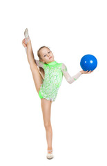 1be5b4eb9 Gymnast cute little girl sitting on the floor. The child in the ...