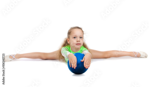 floor gymnastics splits. Gymnast Cute Little Girl Sitting On The Floor. The Child In Gymnastics  Suit Doing Floor Splits