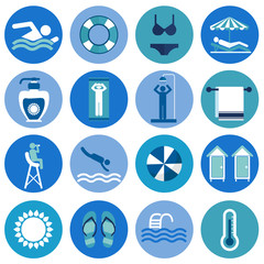 Swimming Pool, beach icons