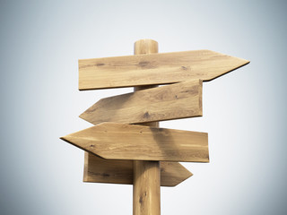 Wooden direction sign