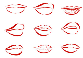 Set of isolated red women lips on light background.