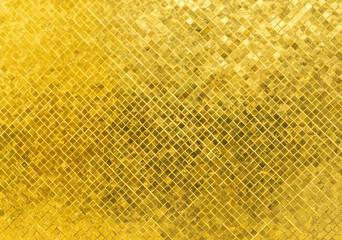 Luxury Shiny Golden Tone Rectangle Tile Glass Pattern Mosaic Background Texture