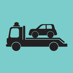 Car Towing Truck Vector Illustration.