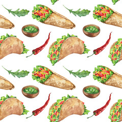 Watercolor colorful fresh seamless background food set with traditional mexican food, burritos and tacos