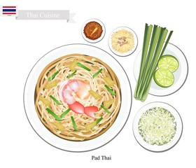 Pad Thai or Thai Stir Fried Noodles with Shrimps