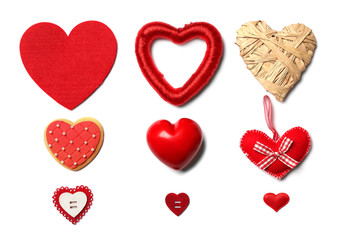 Set of different hearts, isolated on white