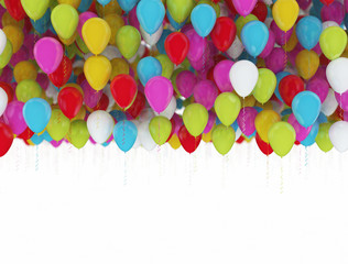 multi color party balloons isolated on white background