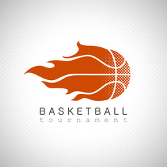 Basketball on fire tournament logo