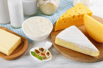 Fresh dairy on table, closeup