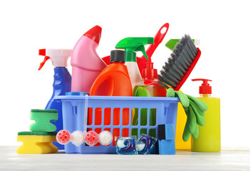 Poster Basket of cleaning supplies on the floor