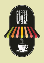 Coffee House typographical vintage style poster. Retro vector illustration.