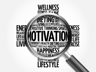 MOTIVATION word cloud with magnifying glass, health concept