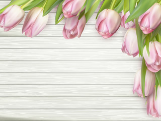 Pink tulips on wooden background. EPS 10