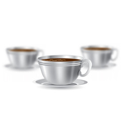 Three realistic mock up cup of coffee or tea on white background. Vector illustration one cup sharp and two cups depth of field