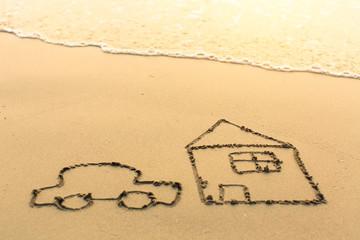 House and a car drawn on the sea beach.