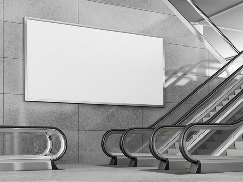 Blank horizontal billboard in public place. 3D rendering.