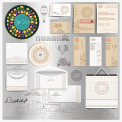 Set of stationary elements with Easter template of vintage engraving elements. Vector holiday style for brandbook